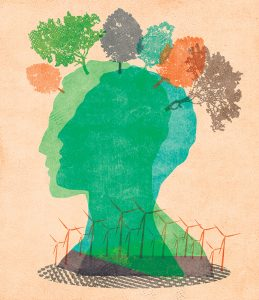 Illustration: wind turbines and sustainability