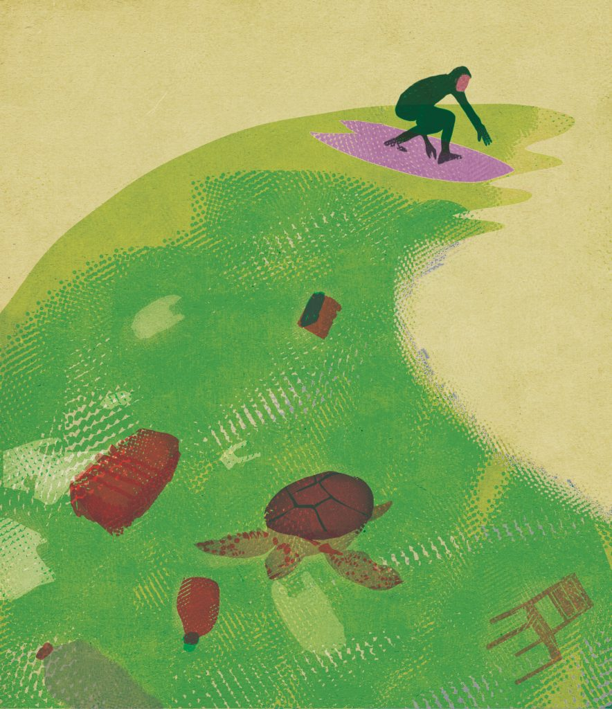 Illustration: A surfboarder surfing on a wave filled with rubbish