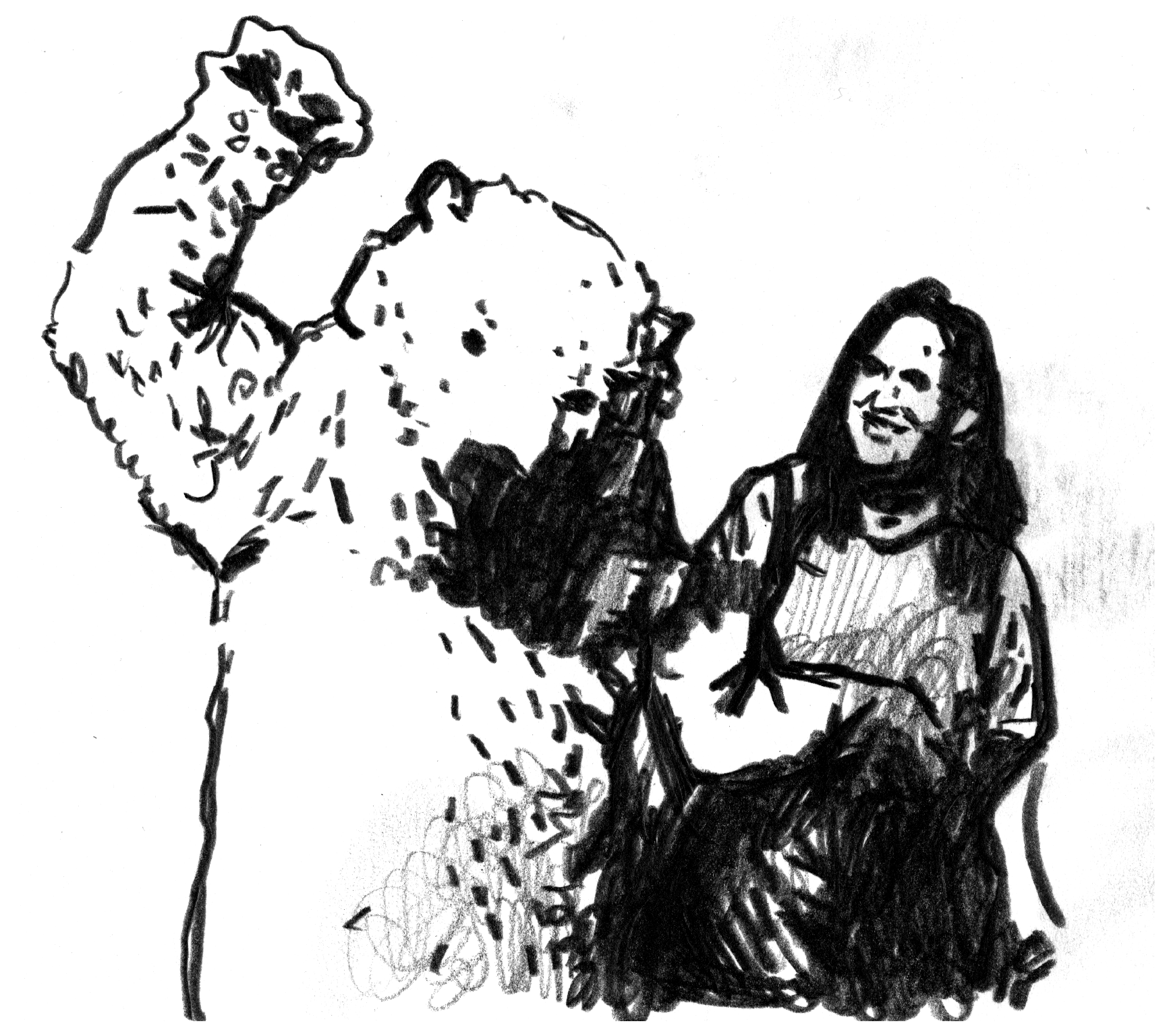 Sketch of a polar bear and a woman.