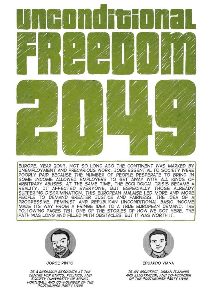 The cover of Unconditional Freedom 2049 comic on European basic income.