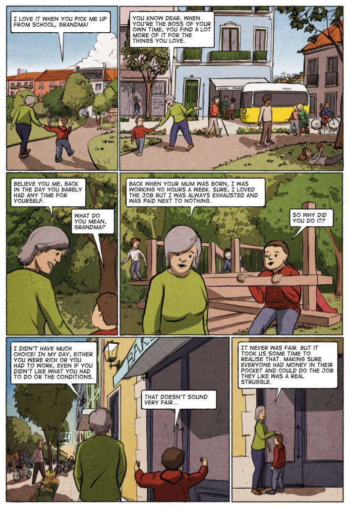The first page of Unconditional Freedom 2049 comic on European basic income.
