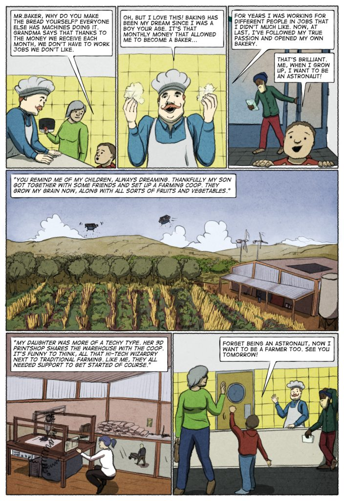 Page 2 of Unconditional Freedom 2049 comic on European basic income.