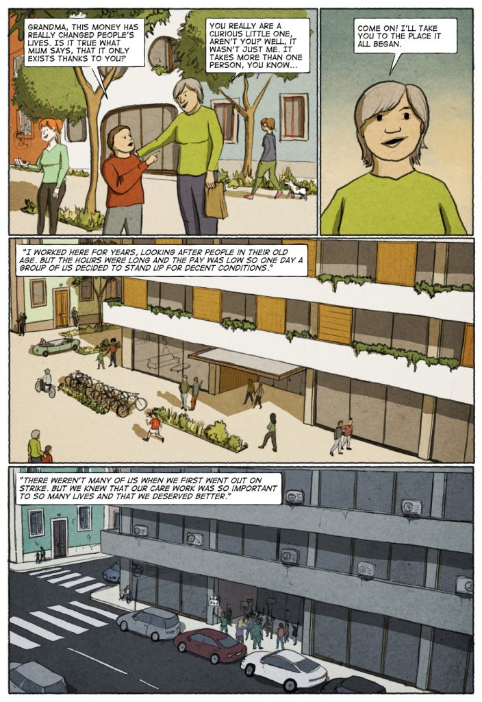 Page 3 of Unconditional Freedom 2049 comic on European basic income.
