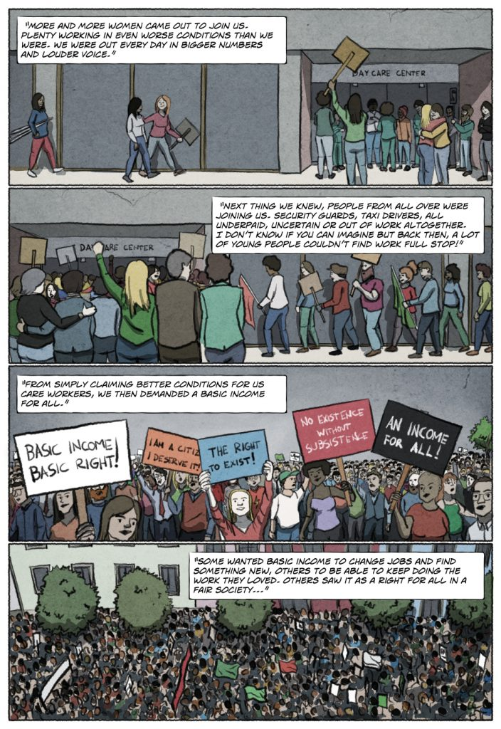 Page 4 of Unconditional Freedom 2049 comic on European basic income.