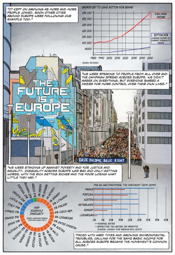 Page 5 of Unconditional Freedom 2049 comic on European basic income.