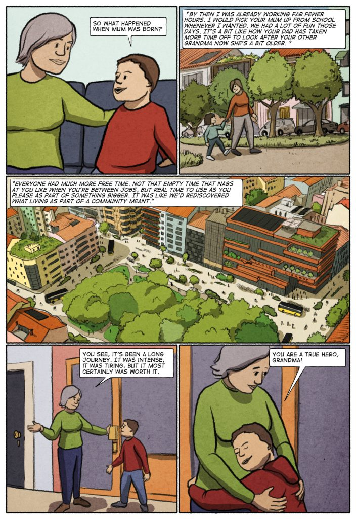 Page 8 of Unconditional Freedom 2049 comic on European basic income.