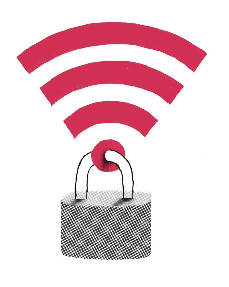 Illustration of a wifi symbol with a padlock through one end
