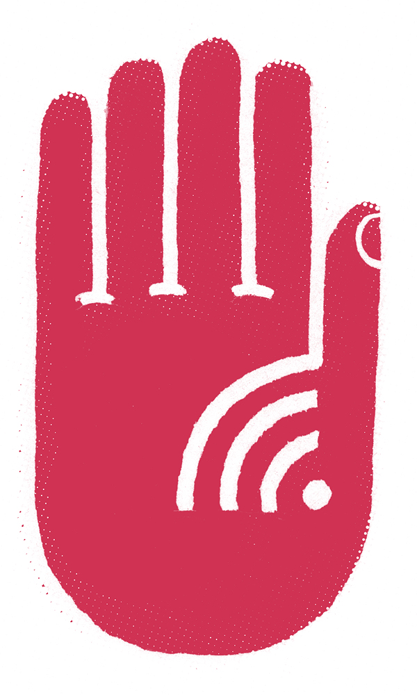 Illustration of a hand making a stop sign with a wifi symbol in the palm