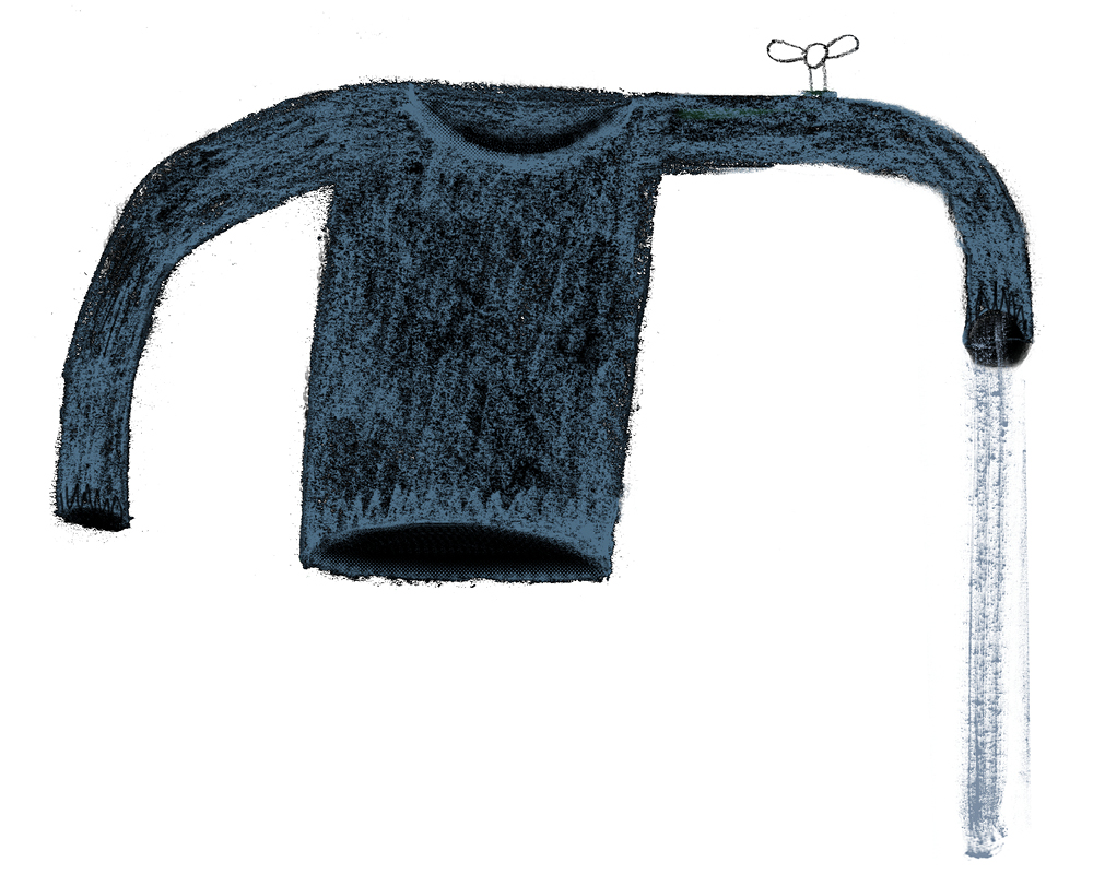 Illustration of a jumper with one arm a tap with water gushing out, representing the water intensity of textiles production