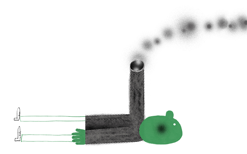 Illustration of a person wearing a sweater with one arm raised as a factory chimney bellowing out smoke