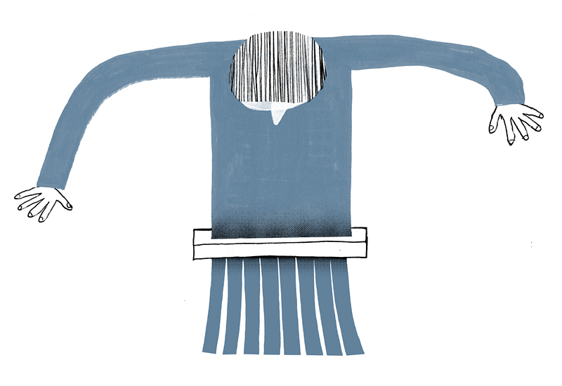Illustration of a person wearing a jumper which is being shredded into scrap material, representing the short life cycle of textiles and huge wastage