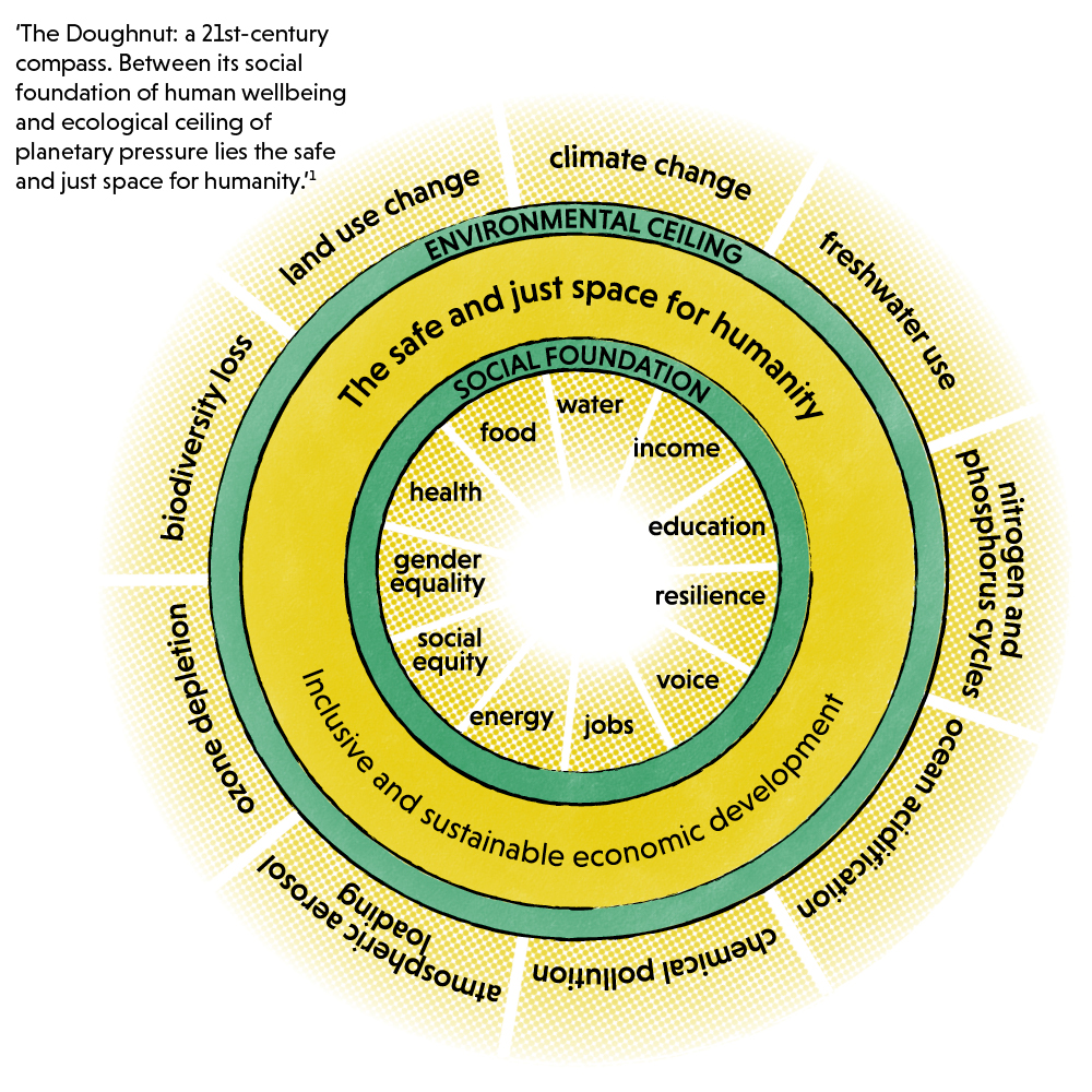 A diagram of doughnut economics: between its social foundation of human wellbeing and ecological ceiling of planetary pressure lies the safe and just space for humanity.