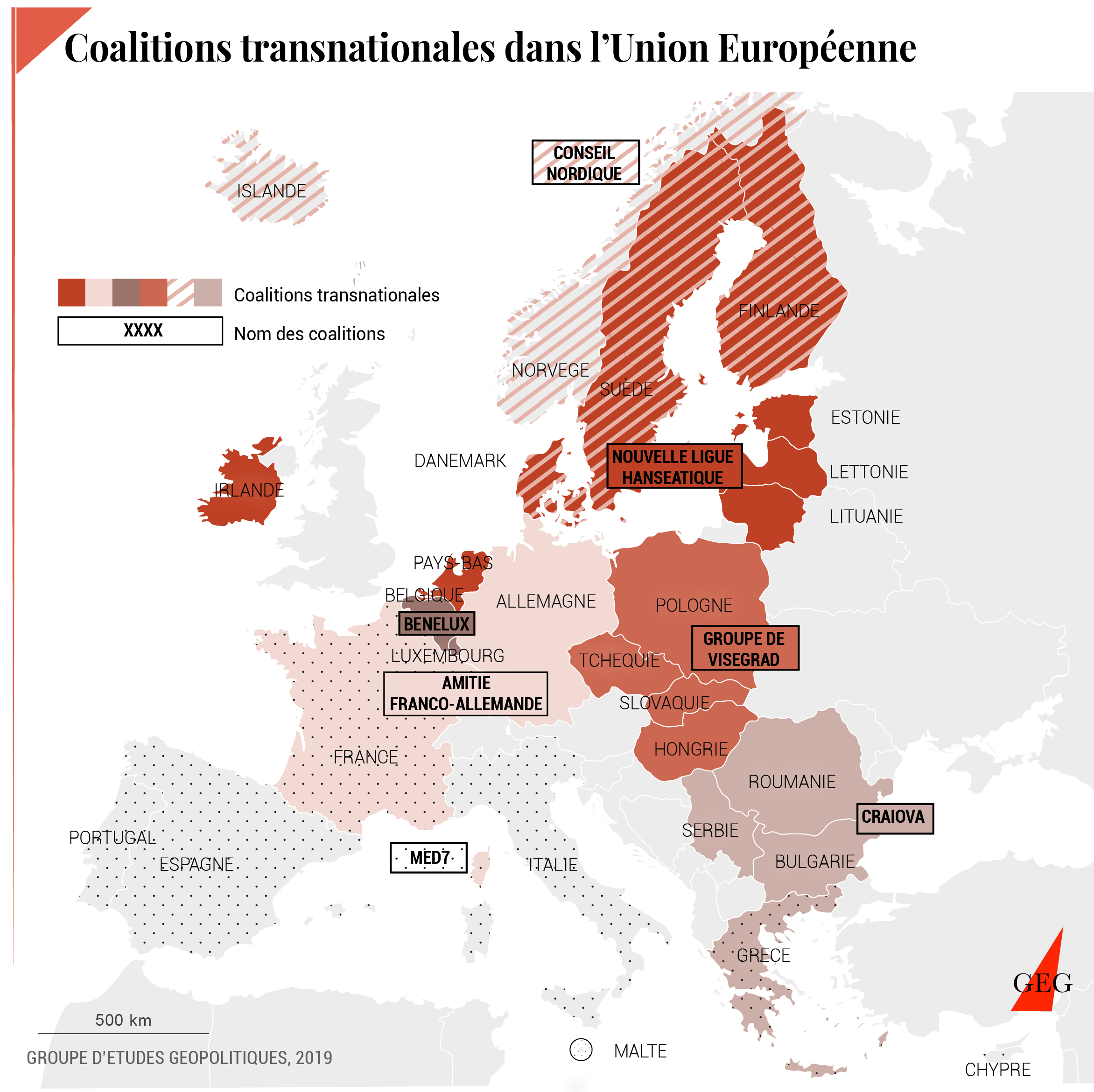 Map of transnational coalitions in the EU