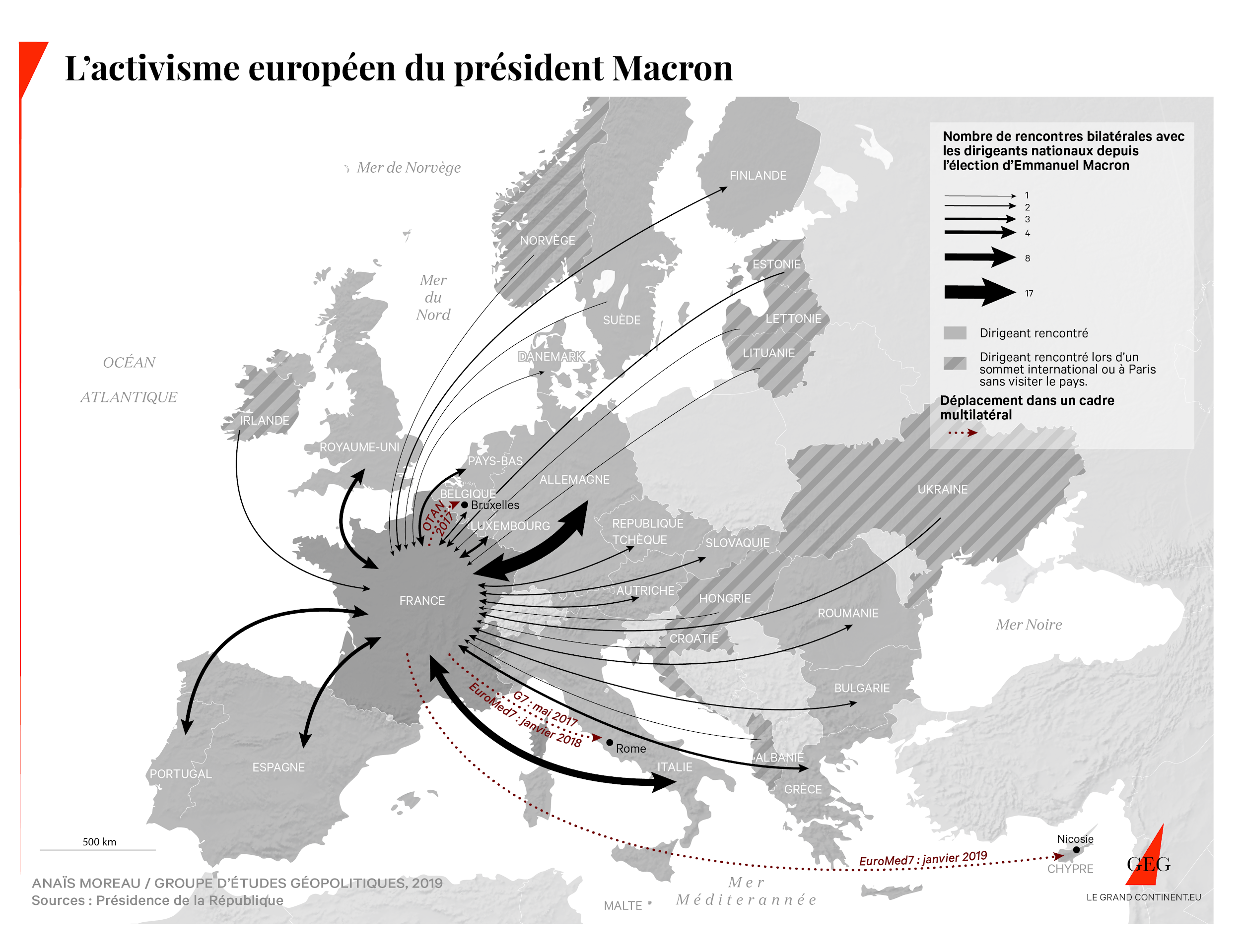 Map of President Macron's European activism (no. bilateral meetings with EU countries)
