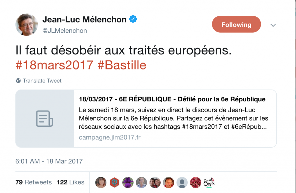 Twitter post by Jean-Luc Melenchon calling for disobedience of EU treaties. 18.03.2017.