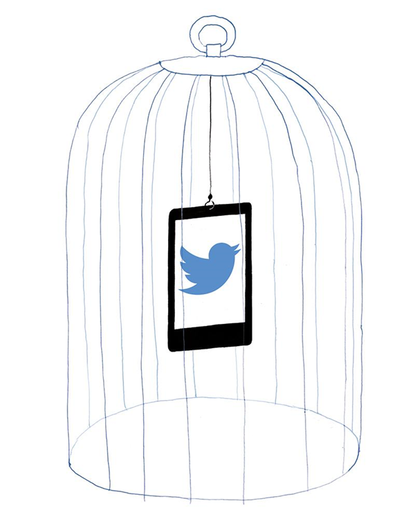 Illustration of a smartphone with Twitter open in a cage