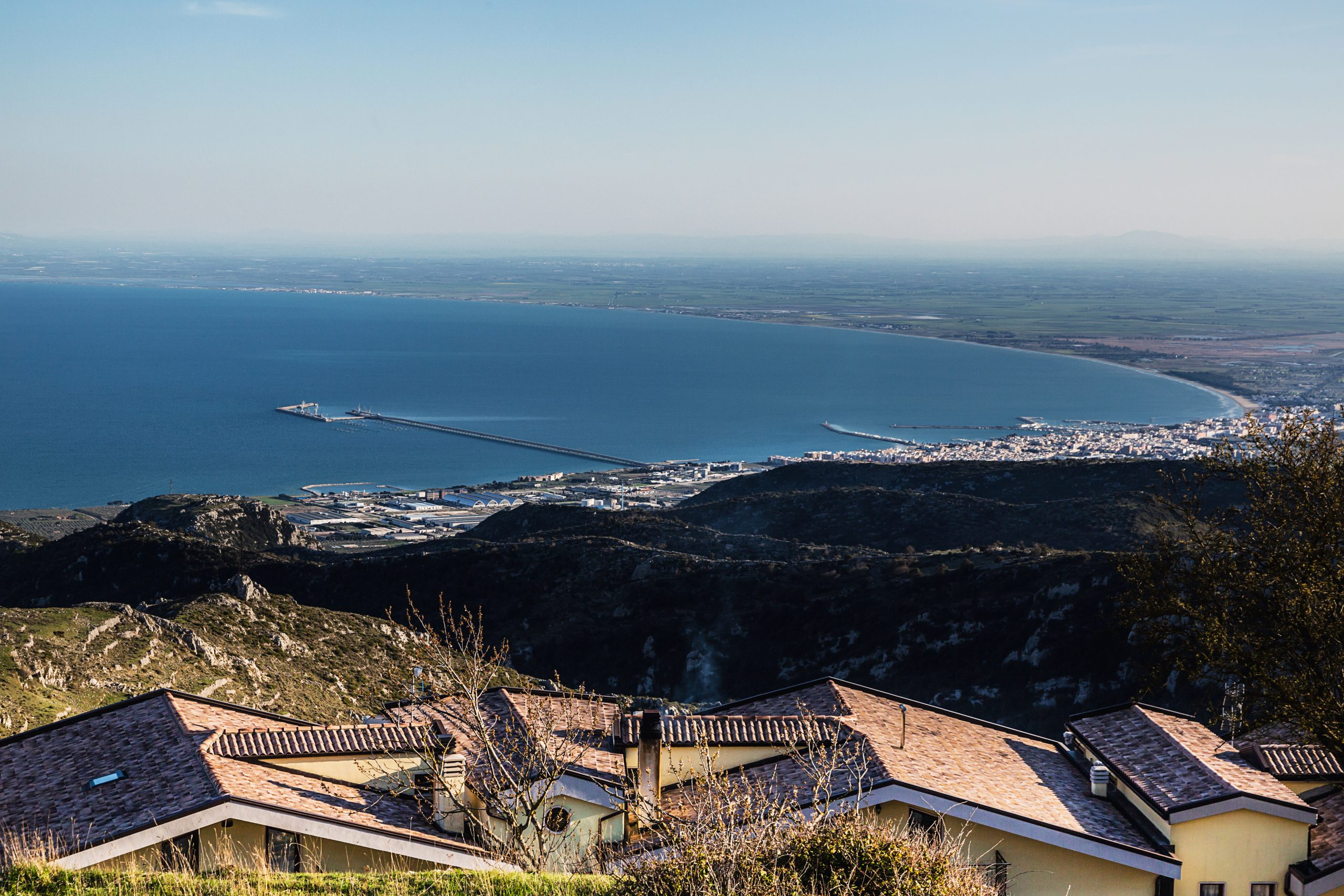 The Gulf of Manfredonia seen from Monte Sant'Angelo. Jurisdiction over the industrial area next to Manfredonia belongs to the town, located almost 17 kilometres away.